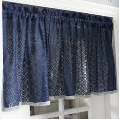 French Lace Kitchen Curtains Banquettes 蓝色地中海客供蕾丝面料咖啡帘书房半透光成品帘穿杆半帘小短帘 - 最好吧折扣