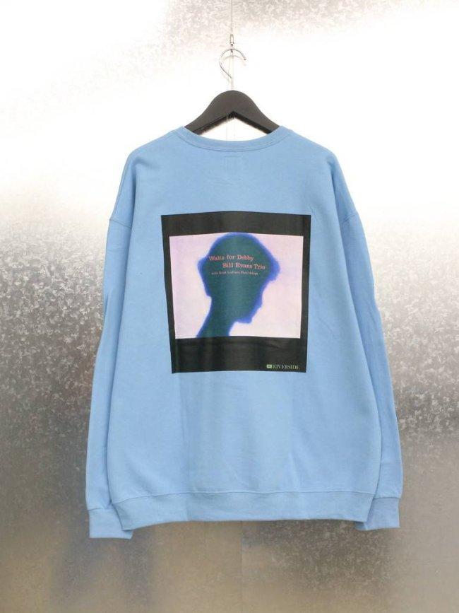 WACKO MARIA BILL EVANS   CREW NECK SWEAT SHIRT TYPE 5 #BLUE [BILLEVANS-WM-SS05]