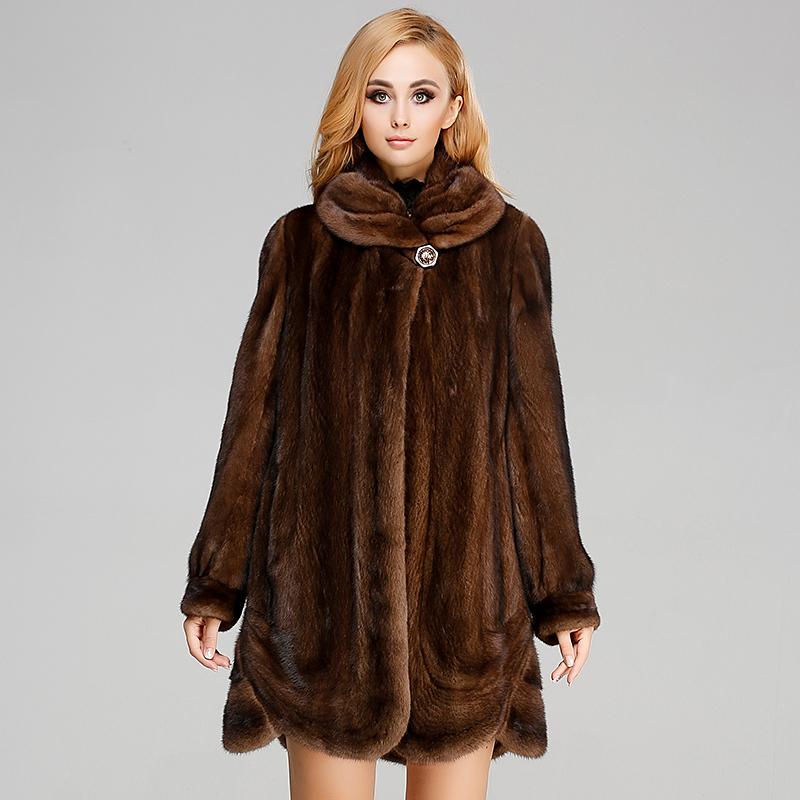 貂皮大衣新款 女士整貂外套 女式中長款水貂女裝 翻領 - 名皮網