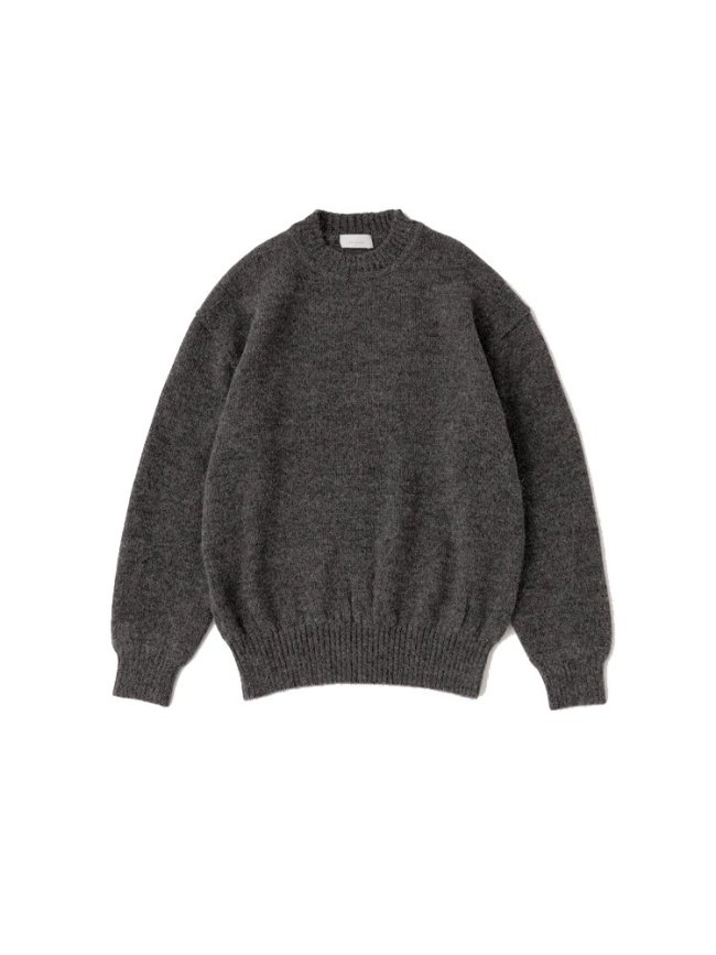 Phlannel|Baby Alpaca Crew- neck Knit #TOP GRAY
