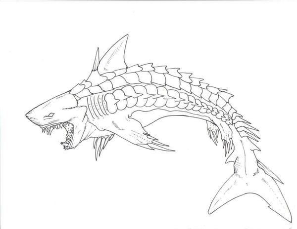 Armor Shark Line Art by HybridShark on DeviantArt