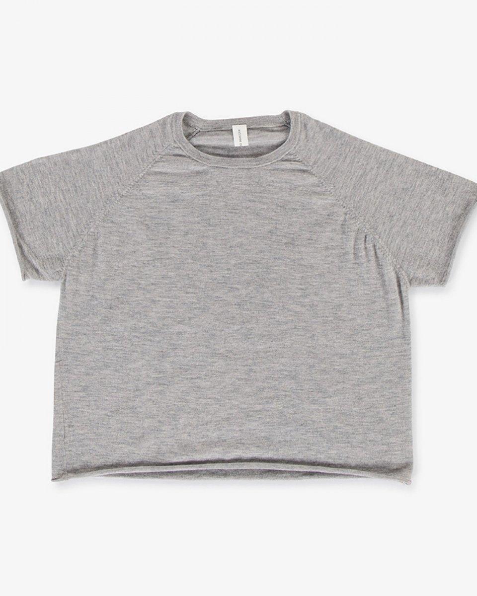 カシミアラグランTシャツ ライトグレーの写真