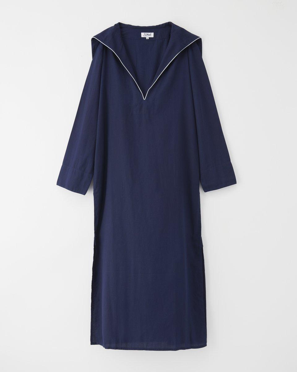 セーラーロングシャツドレス ネイビーの写真