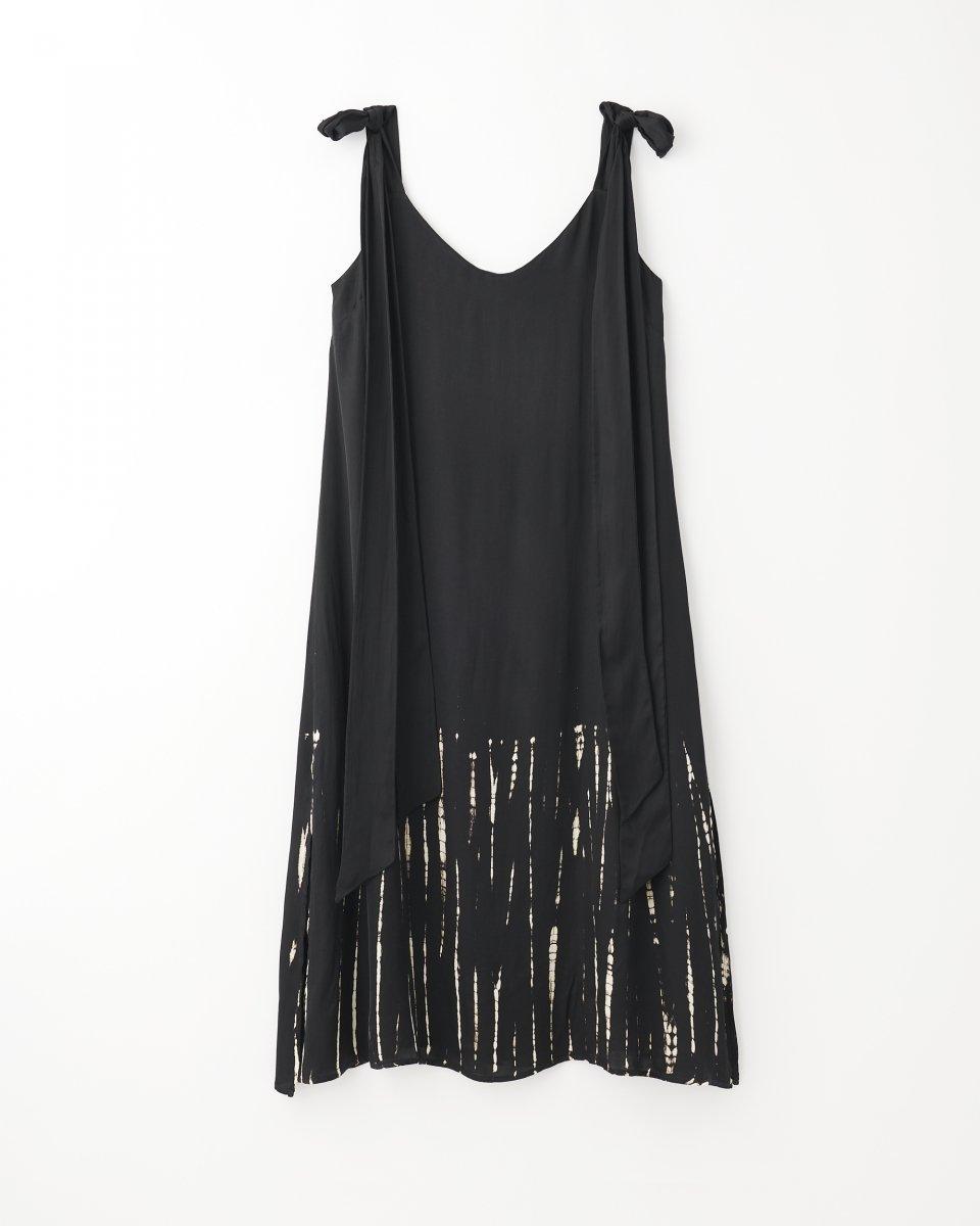 ディップダイスリップドレス ブラック+アイボリーストライプ