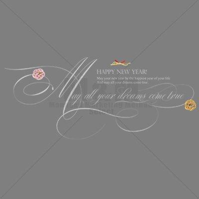 【英文フォント素材】素敵な言葉シリーズ・新年「全ての夢がかないますように1」ホワイト半透明 - M&M Collection