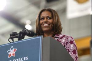 First Lady Michelle Obama speaks at a jobs fair for soldiers and spouses in Fort Campbell, Kentucky, earlier this week.