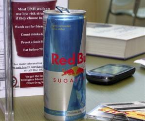 In this photo taken Sept. 28, 2011, a student's can of Red Bull energy drink is seen on a table at the University of New Hampshire in Durham, NH.
