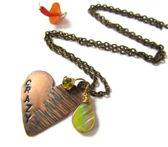 Hand Stamped Copper Crazy Heart Pendant Necklace mother of pearl charm