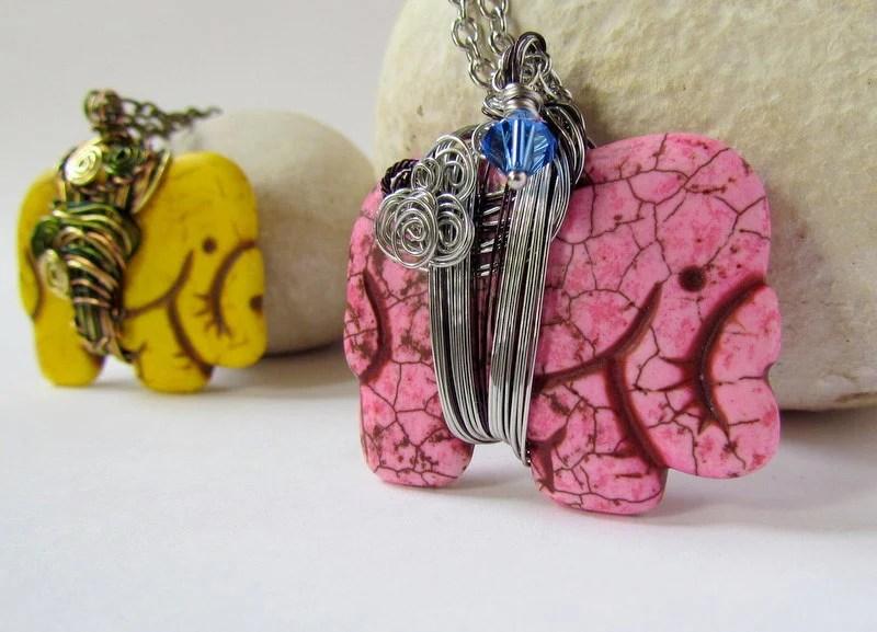 Pink Howlite Elephant Pendant Blue Swarovski crystal spirals wire wrap chain