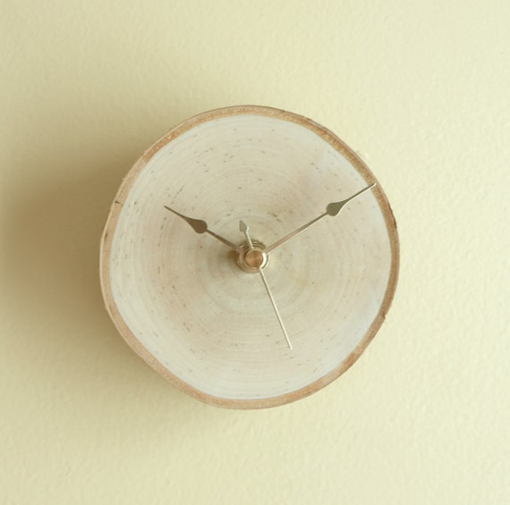 natural white birch forest clock - unwind and relax