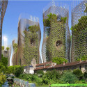 Torres Nido de Bambú desde el nivel de calle.  Imágen cortesía de Vincent Callebaut Architecture