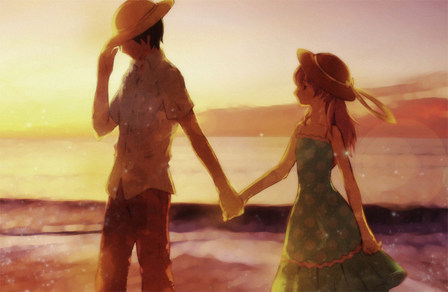 Anime Guy And Girl Holding Hands Wallpaper Crunchyroll Couple Of Sunset And Midnight Group Info