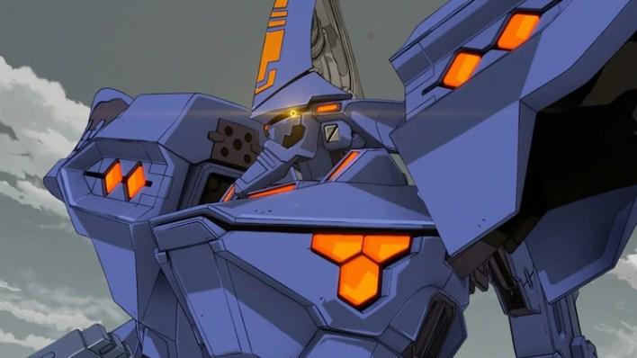 Sebuah mecha TSF menangis di medan perang dalam sebuah adegan dari trailer untuk anime TV Alternatif Muv-Luv mendatang.