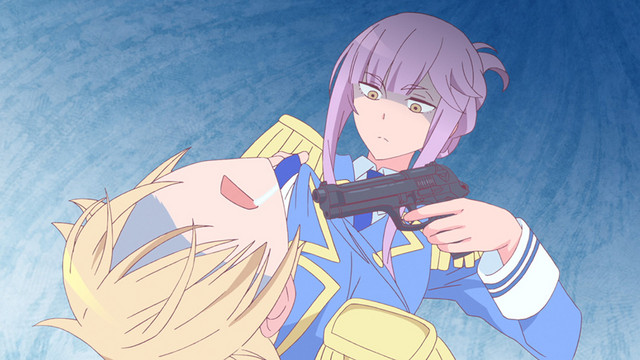 Sargatanas, an assistant demon, threatens her superior, the fallen angel Astaroth, with a pistol in a scene from the As Miss Beelzebub Likes it. TV anime.