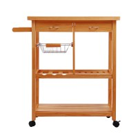 HomCom Portable Rolling Home Storage Cart Drawers Kitchen ...