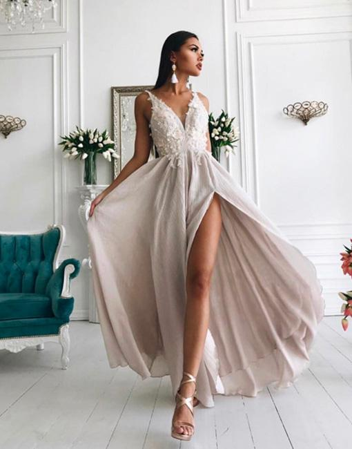 Schlichte Chiffon Abendkleider Lang   Elegante V-Ausschnitt Abendkleider Hoch Schlitz