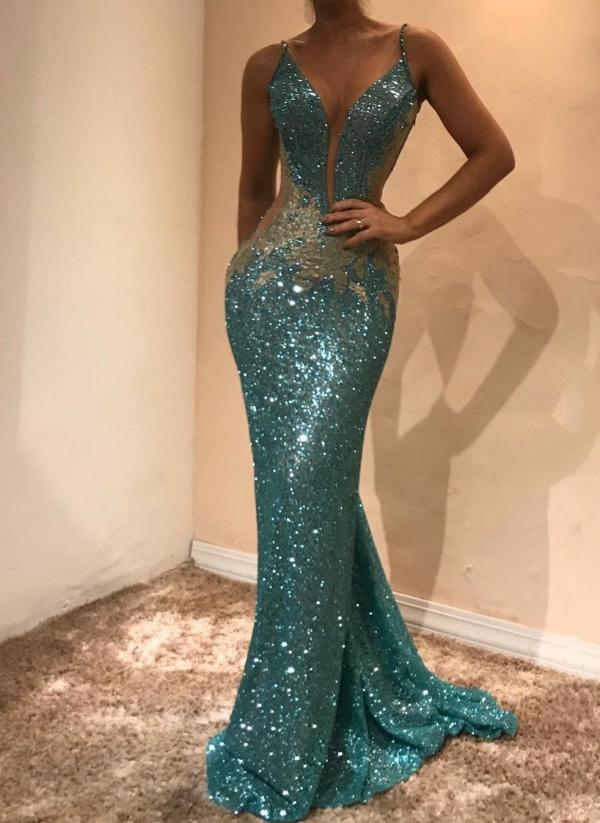 Vestido de noche lentejuelas sin mangas glamoroso | Mermaid Prom Dress en Oferta BA9598
