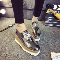 New Women Shiny Lace Up Flats Double Platform Oxfords Fashion Comfortable Shoes
