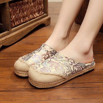 Women Slip On Flax Cloth Shoes Casual Flat Loafers