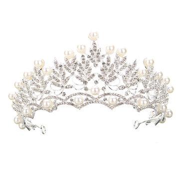 Wedding Bridal Crystal Rhinstone Pearl Silver Queen Crown