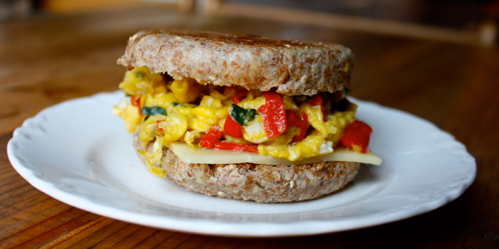 Mozzarella and Egg White Breakfast Sandwich
