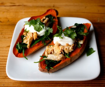 Sweet Potato Skins with Chicken