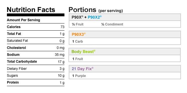 Calories in Fresh Fruit Sorbet