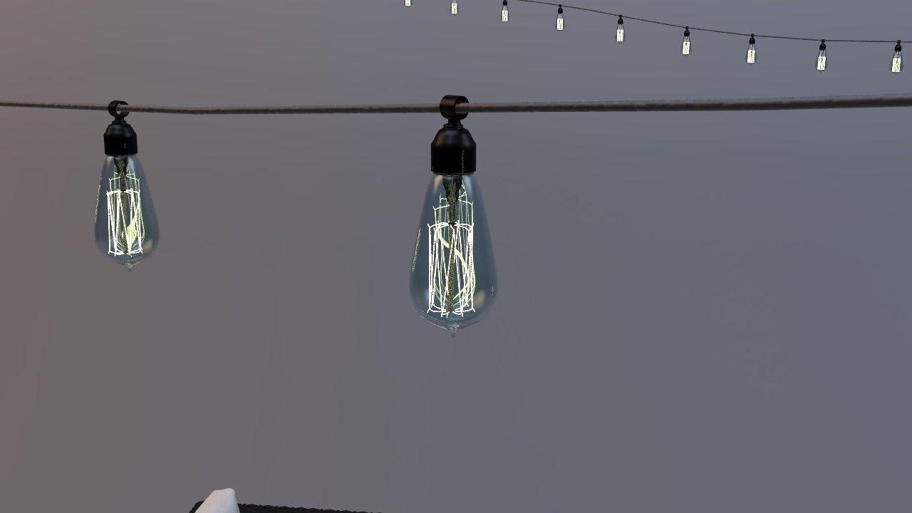 edison patio lights rope 3d model