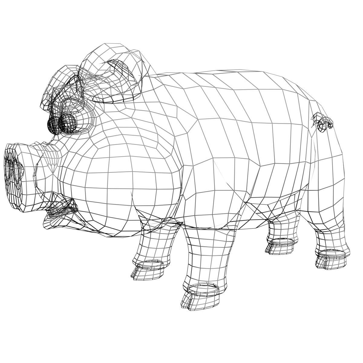 3D model Cartoon Pig Rigged VR / AR / low-poly rigged MAX