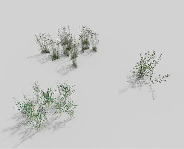 3D model low poly grass pack VR / AR / low-poly OBJ 3DS