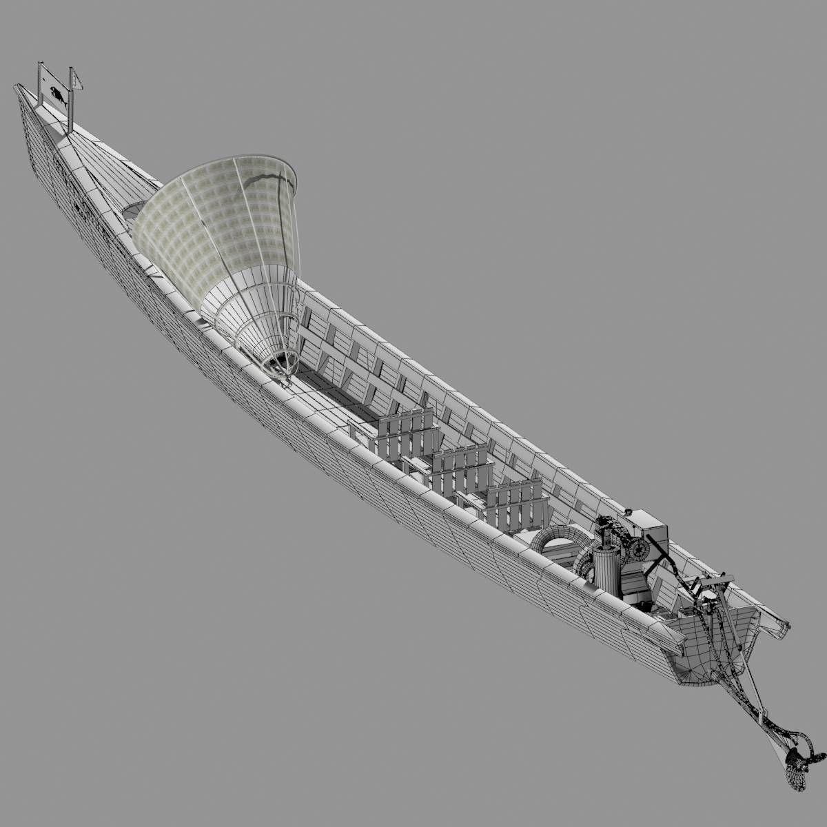 3D model Inle Lake Motor Canoe VR / AR / low-poly MAX OBJ