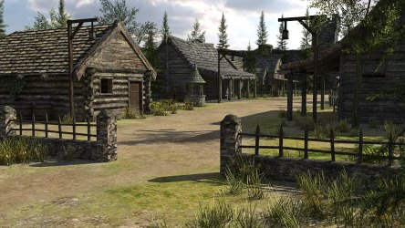 fantasy town 3d medieval poly low vr ar obj fbx c4d max cgtrader models 37k