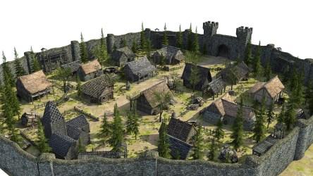 fantasy medieval town low poly 3d vr ar cgtrader obj fbx c4d max exterior