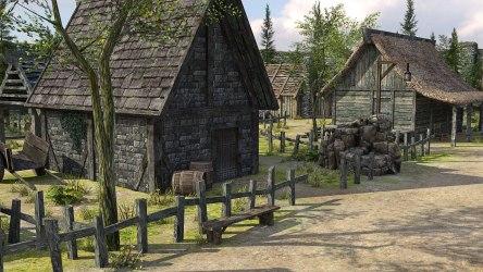 medieval fantasy town 3d poly low vr village ar cgtrader obj c4d fbx max reality games exterior