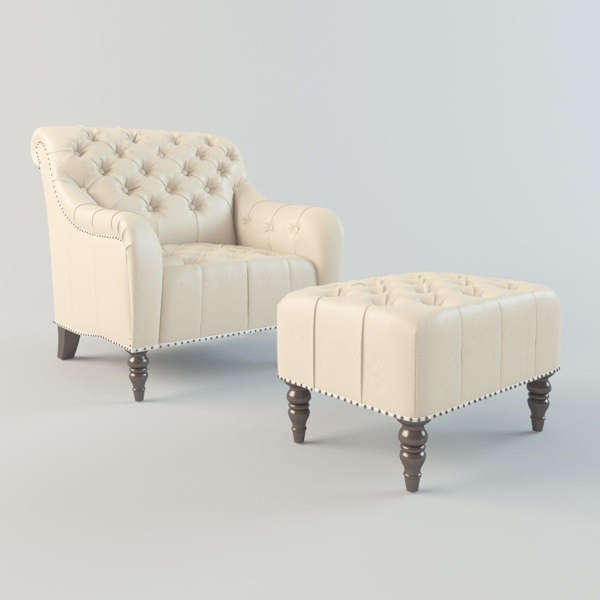 Brady Tufted Leather Chair And Ottoman 3d Model