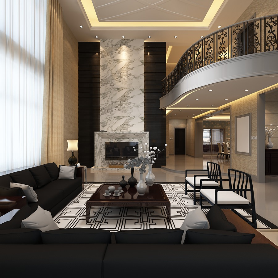Elegant Living Room with Balcony 3D Model max  CGTradercom