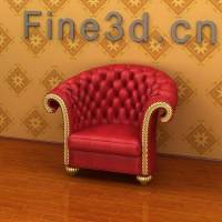 Fancy Red Armchair 3D Model MAX OBJ 3DS