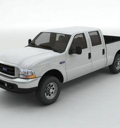 2002 ford f 250 crew cab pickup 3d model [ 1024 x 768 Pixel ]