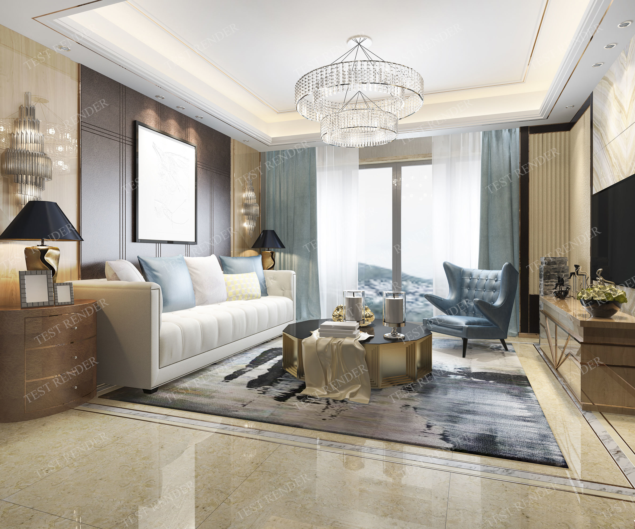3D model modern living room with luxury design   CGTrader