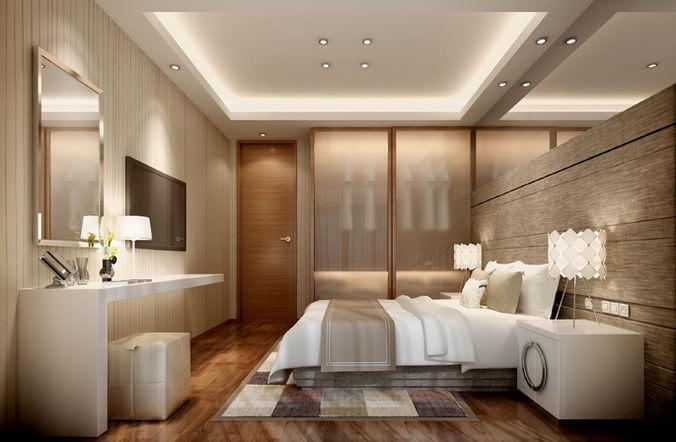hotel bed room interior 3D  CGTrader