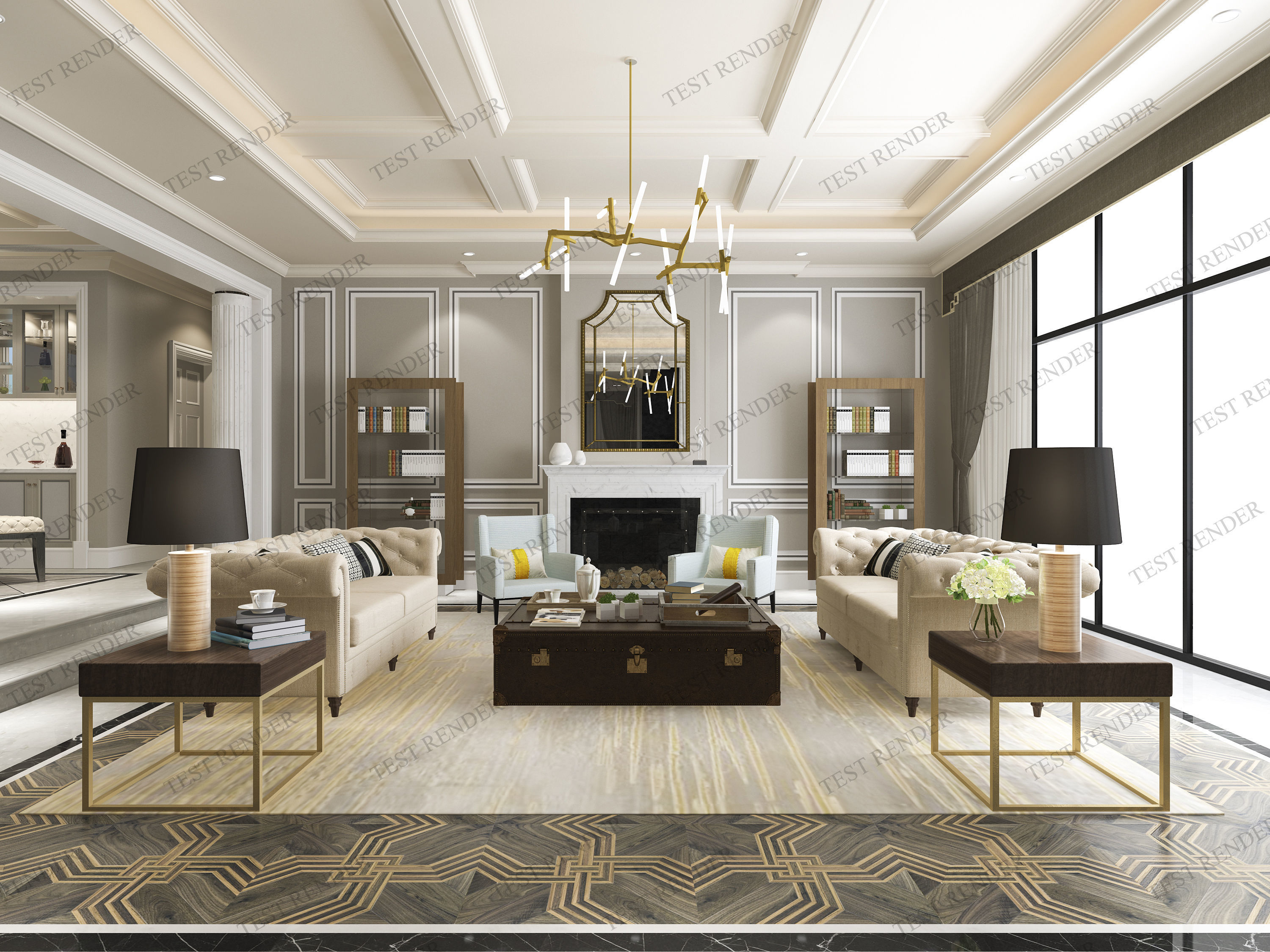 3D model modern classic contemporary living room with