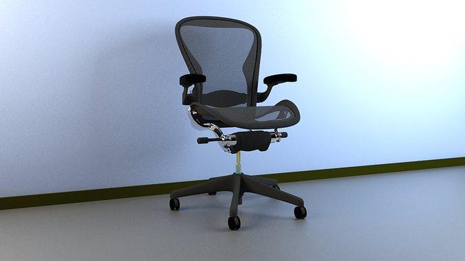 office chair herman miller folding high uk aeron work 3d model cgtrader