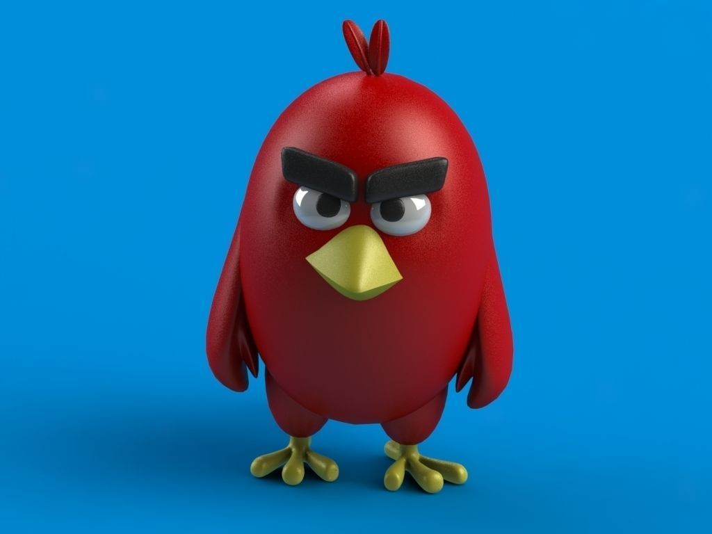 angry birds red 3d print model