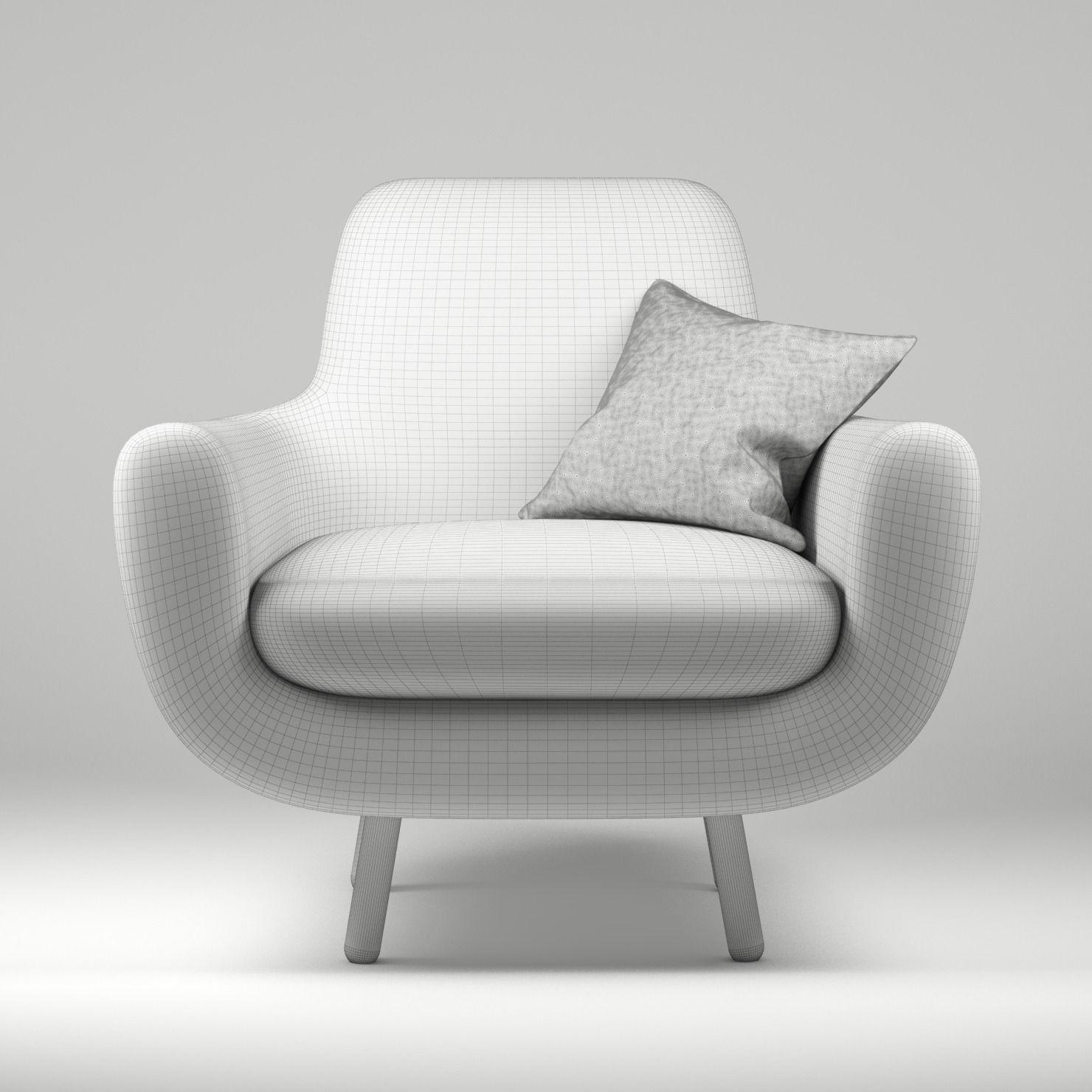 armchair pillow chair covers garden jonah yellow with 3d model max obj fbx mtl