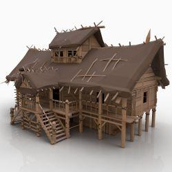3D model STYLIZED BIG FANTASY MEDIEVAL VIKING WOODEN 2