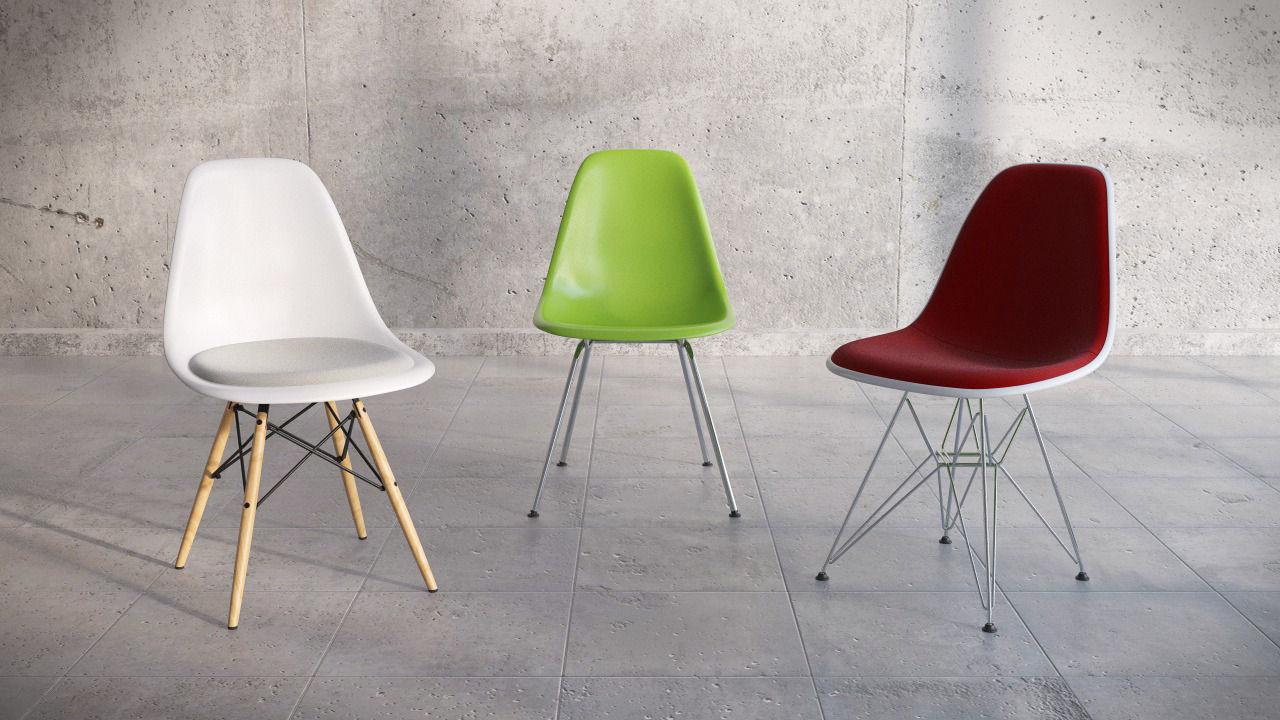 eames bucket chair baby bouncing asda vitra plastic side dsw dsk dsx 3d model c4d 1