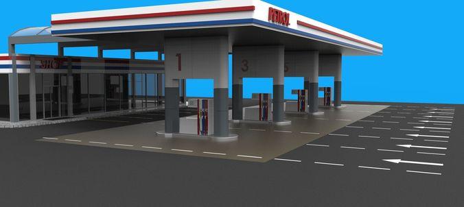 Gas Station Gasoline 3D Model CGTrader
