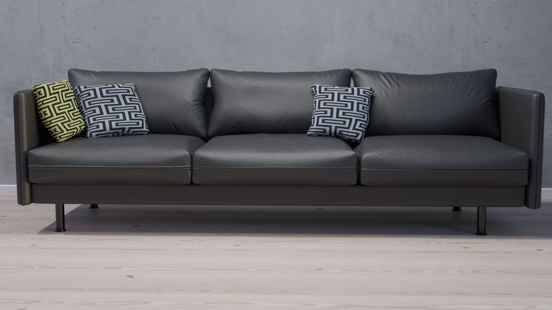 modern black leather sofa 3d model 3d model