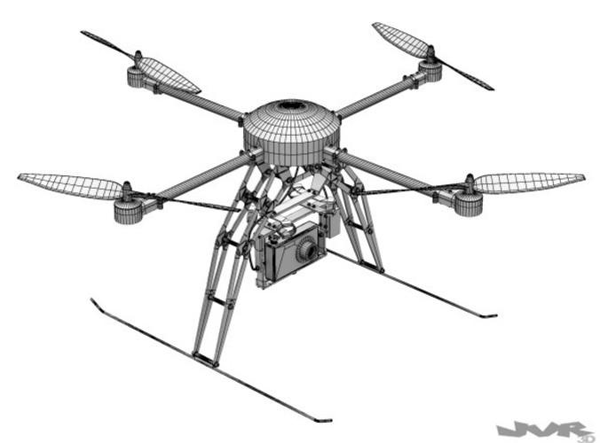 Quadcopter Generic with camera 3D Model MAX OBJ 3DS FBX