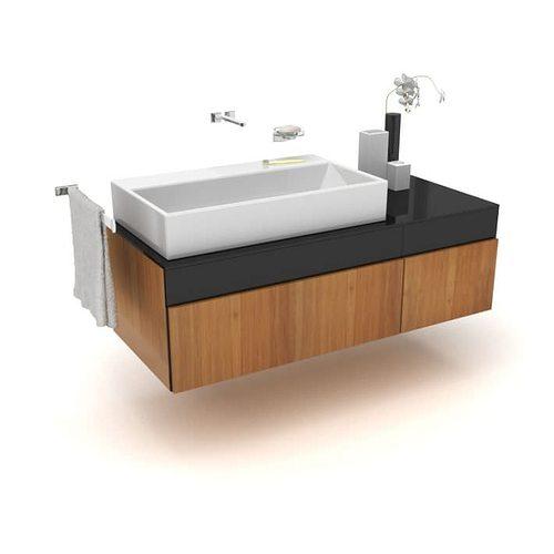 3d model large basin modern bathroom sink   cgtrader